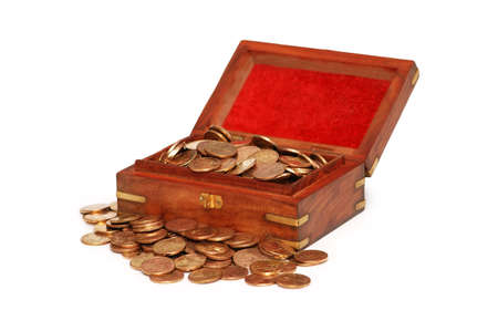 Small chest full of coins isolated on white Stock Photo - 2677349