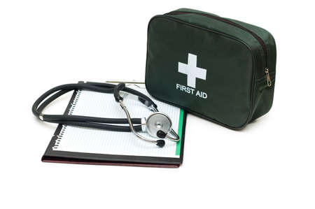 First aid kit, stethoscope and pad isolated on white Stock Photo - 2779620