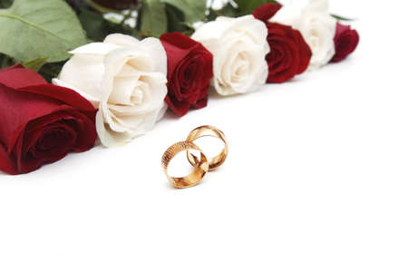 Golden rings and roses isolated on the white Stock Photo - 2779577