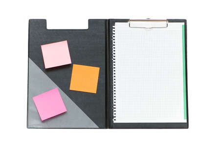 Open binder with post-it notes and blank page photo
