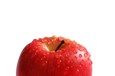 Red apple with water droplets isolated on white Stock Photo - 2820508