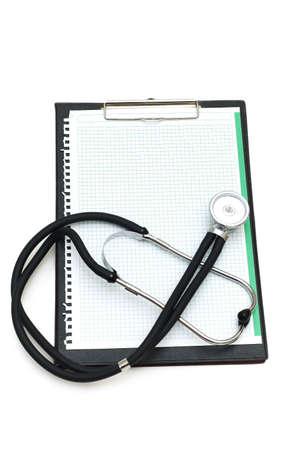 Stethoscope on the binder isolated on white Stock Photo - 2908841