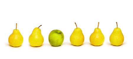 1 and crowd: Stand out from crowd with apple and pears