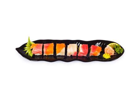 sushi plate: Sushi plate isolated on the white background Stock Photo