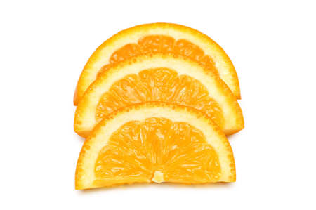 Three orange slices isolated on the white Stock Photo - 3092183