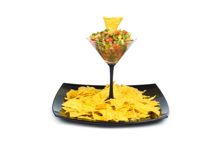 Mexican traditional foof - corn chips and salsa photo