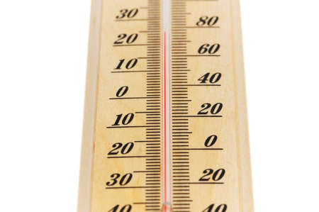 weather gauge: Wooden thermometer isolated on the white background