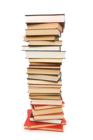 stack of books: Stack of books isolated on the white background Stock Photo