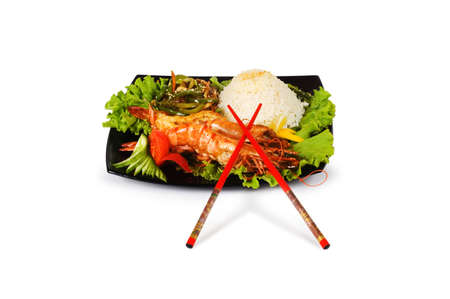 Grilled lobster, rice and vegetables isolated on white Stock Photo - 3185966