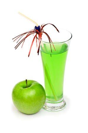 Green apple and juice isolated on the white photo