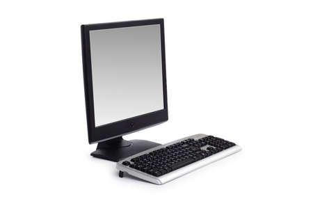 Computer with flat screen isolated on white photo