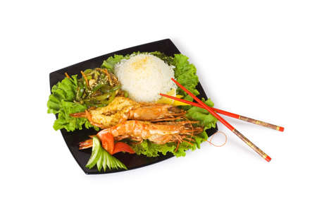 Grilled lobster, rice and vegetables isolated on white Stock Photo - 3247549