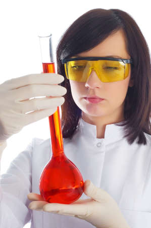 Woman with chemical tubes in the labatory on white Stock Photo - 3247561