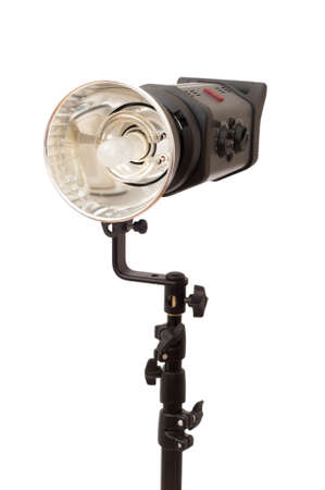 Studio stobe with reflector isolated on white Stock Photo - 3273860