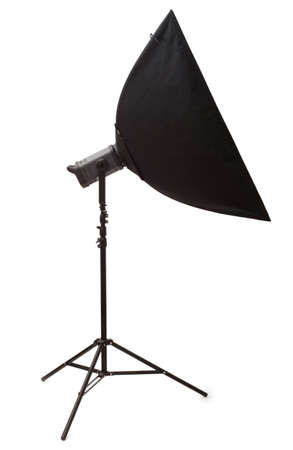 Studio strobe with softbox isolated on the white Stock Photo - 3273859
