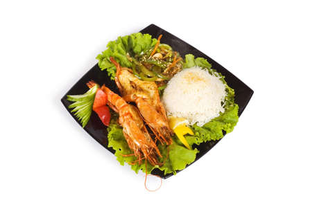 Grilled lobster, rice and vegetables isolated on white Stock Photo - 3273851