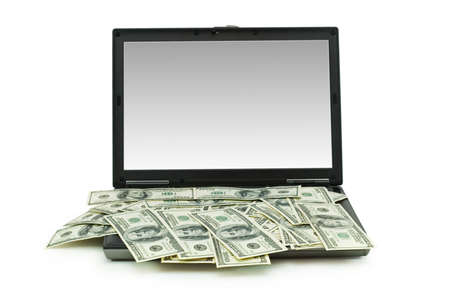 E-commerce concept with dollars and laptop isolated on the white photo