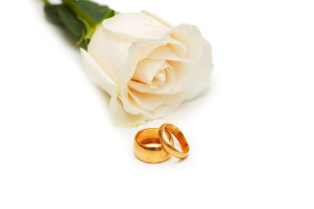 Rose and wedding rings isolated on the white Stock Photo - 3316471
