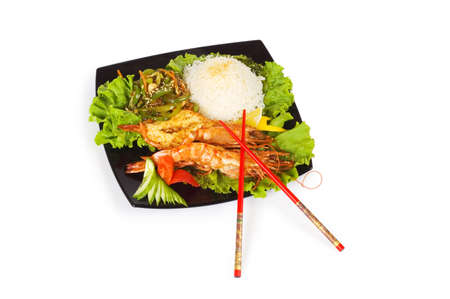 Grilled lobster, rice and vegetables isolated on white Stock Photo - 3330554