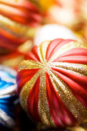 Colourful christmas decoration on a shiny background photo