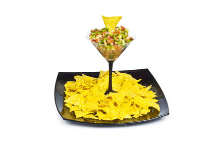 Mexican traditional food - corn chips and salsa photo