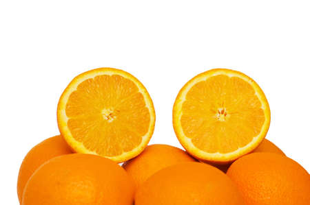 half cut: Two half cut oranges isolated on white