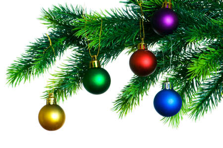 Christmas decoration on the tree isolated on white Stock Photo - 3478434