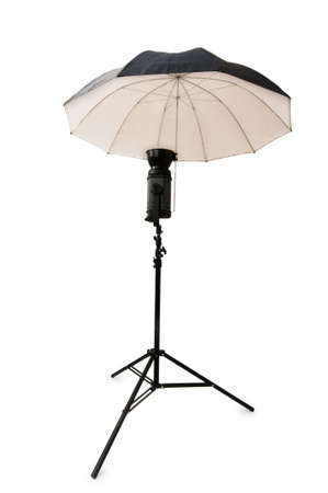 snoot: Black studio umbrella isolated on the white
