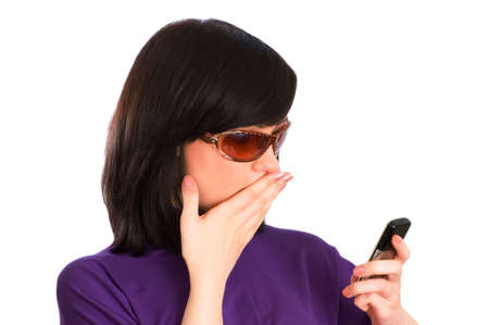 Close up of young woman talking on mobile phone photo