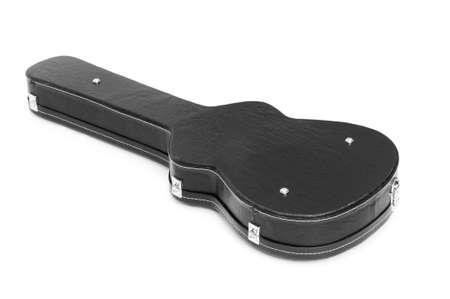 guitar case: Guitarra caso aislado en el fondo blanco