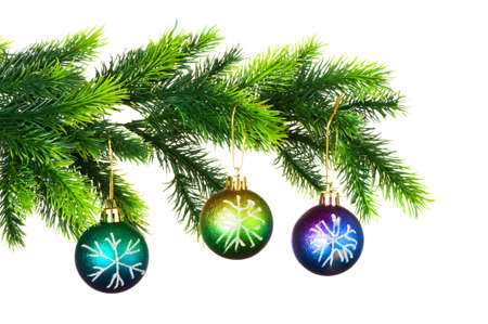 Christmas decoration on the tree isolated on white photo