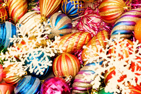 Colourful christmas  decoration on a shiny background photo