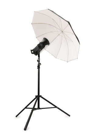 black and white photography: Studio strobe isolated on the white background Stock Photo