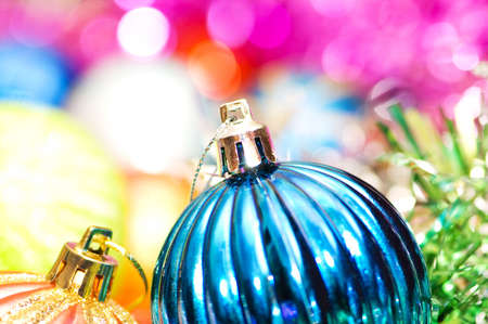 Colourful christmas decoration on a shiny background Stock Photo - 3558574