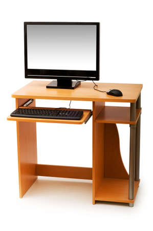 Computer  and desk isolated on the white Stock Photo - 3558575