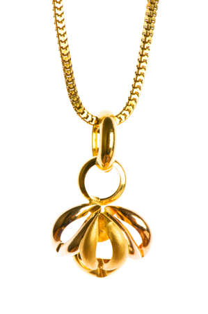 Pendant on golden chain isolated on the white Stock Photo - 3589665