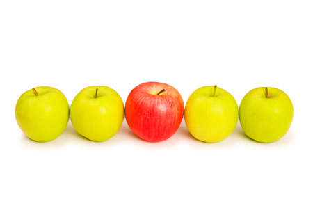 Stand out from crowd concept with apples isolated on white Stock Photo - 3620941