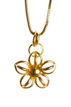 Pendant on golden chain isolated on the white photo