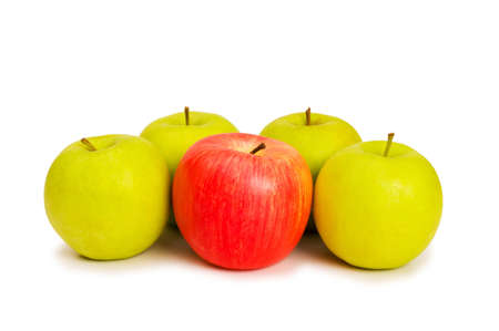 stand out from the crowd: Stand out from crowd concept with apples isolated on white Stock Photo