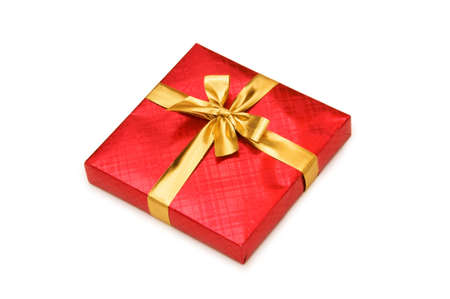 Red gift box isolated on the white photo