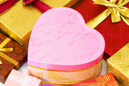 Close up of gift boxes with golden ribbons Stock Photo - 3692267