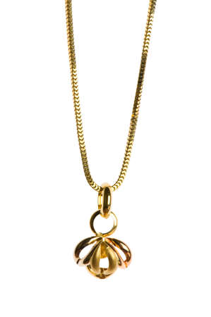 gold chain: Pendant on golden chain isolated on the white