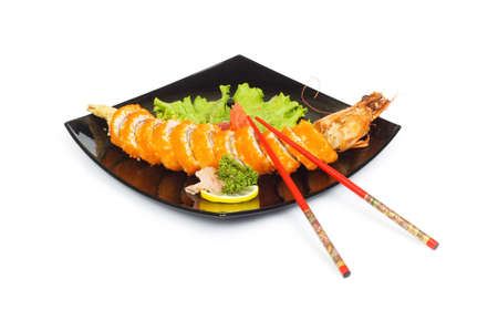 Sushi and crab isolated on the white background photo
