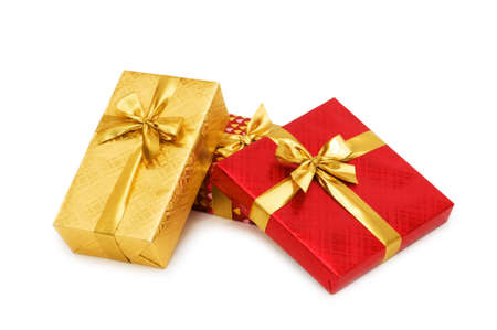 Gift boxes isolated on the white background Stock Photo - 3793355
