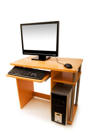 Computer  and desk isolated on the white Stock Photo - 3847273