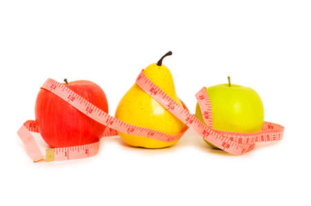 Apples and pear illustrating  fruit dieting concept photo