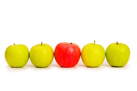 Stand out from crowd concept with apples isolated on white Stock Photo