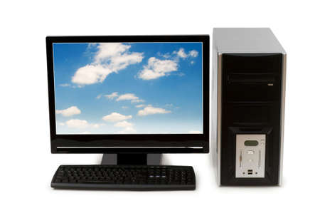 Computer with flat screen isolated on white Stock Photo - 3927974