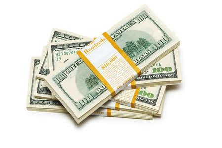 Ten thousand dollar stacks on the white Stock Photo - 3965502