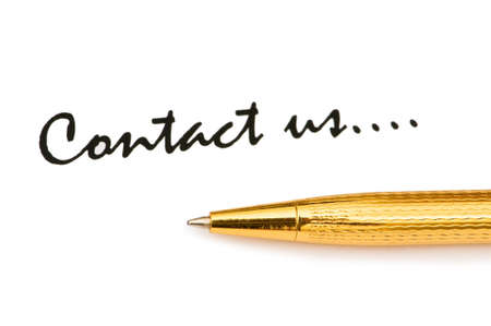 Pen and Contact us message on white photo